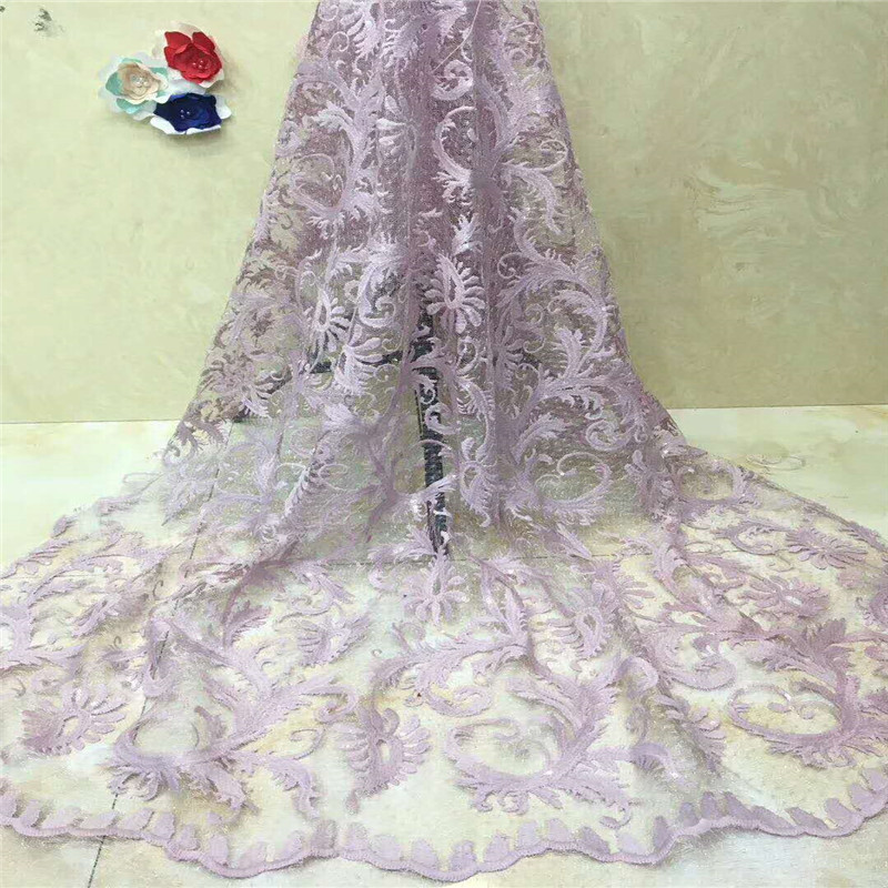 Latest white Tulle Lace Fabric, African Sequins Laces 2018 With HX1228