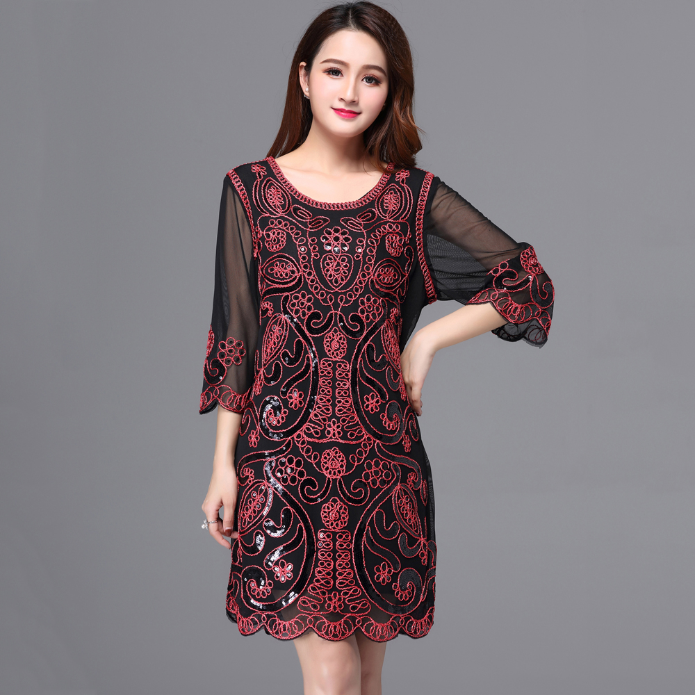 Ethical Style Iran Iraq Plus Size Women Party Dress Vestido Round Neck 3 4  Sleeve Embroidery Sequin Dress Filigree Deco Dress 349af58ede41