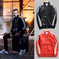 Alta Calidad Beckham Mens Chaquetas de Cuero Masculino Abrigos de Cuero Negro Chaqueta de Motorista de La Motocicleta de Gamuza Roja China