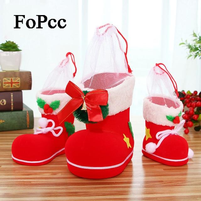 2018 Navidad flocado botas regalo creativo del regalo del caramelo bolsa  botas actual bolso titulares decoración b1b06561f5e1b