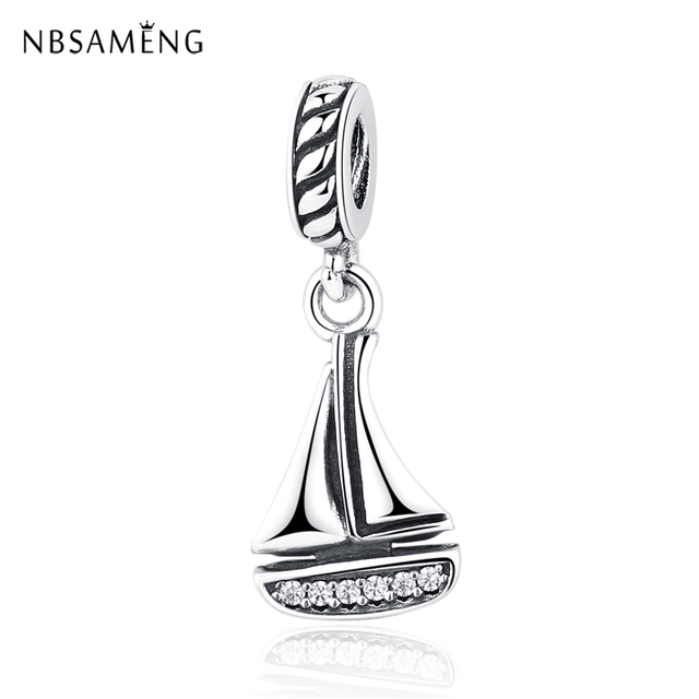 19f1b479d Authentic 925 Sterling Silver Charm Bead Sailboat Pendant Charms Ship  Dangle Fit Pandora Bracelets Bangles Women DIY Jewelry