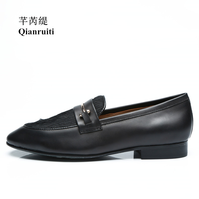 Qianruiti Men's Horsehair Shoes Slip-on Loafers Gold Metal Hook Smoking Shoes for Men EU39-EU46 Customized color Men Casual Shoe qianruiti men alligator gold loafers metal toe business wedding oxfords high quality lace up slippers men dress shoe eu39 eu46