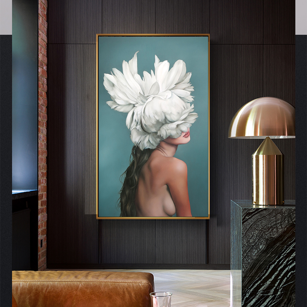 WANGART Grande Taille Affiches et Gravures Fleurs Plume Femmes Peinture À L'huile Toile Mur Photos pour le Salon Décoration de La Maison jy74
