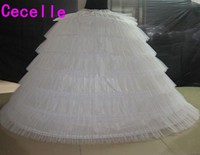 White Tulle Super Puffy Big Long Petticoats 6 Hoops 6 Tieres Ball Gown Wedding Dresses Crinoline