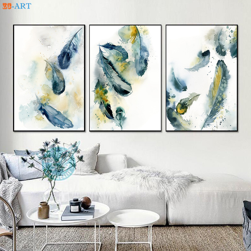 Green Blue And Yellow Feather Prints Watercolor Painting