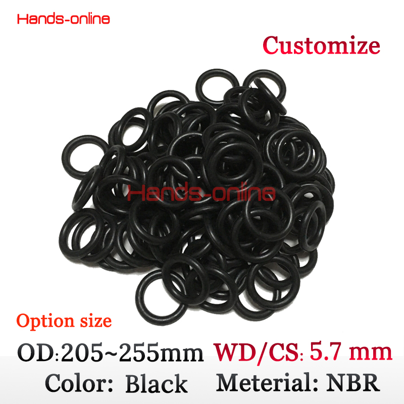 5.7mm W/C section selcet OD 205 210 215 220 225 230 235 240 245 250 255mm Rubber O Ring gaskets