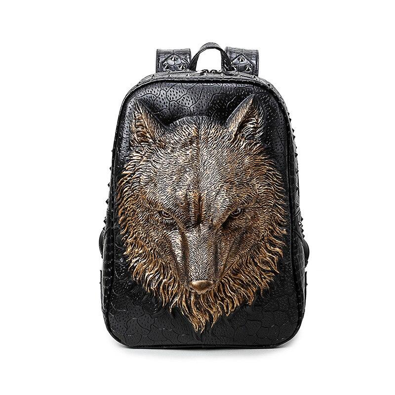 3D Wolf Backpack Women Girls Laptop Backpack Fashion Animal Travel School Computer Rivet Bags Vintage Rock PU Leather Backpacks