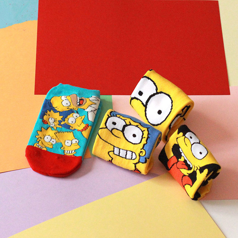 2018 Newly Women&Children Cartoon Funny Cotton   Socks   1Pairs Simpsons Family Novelty Cute   Socks   Animals Funny Happy   Sock   Slippers