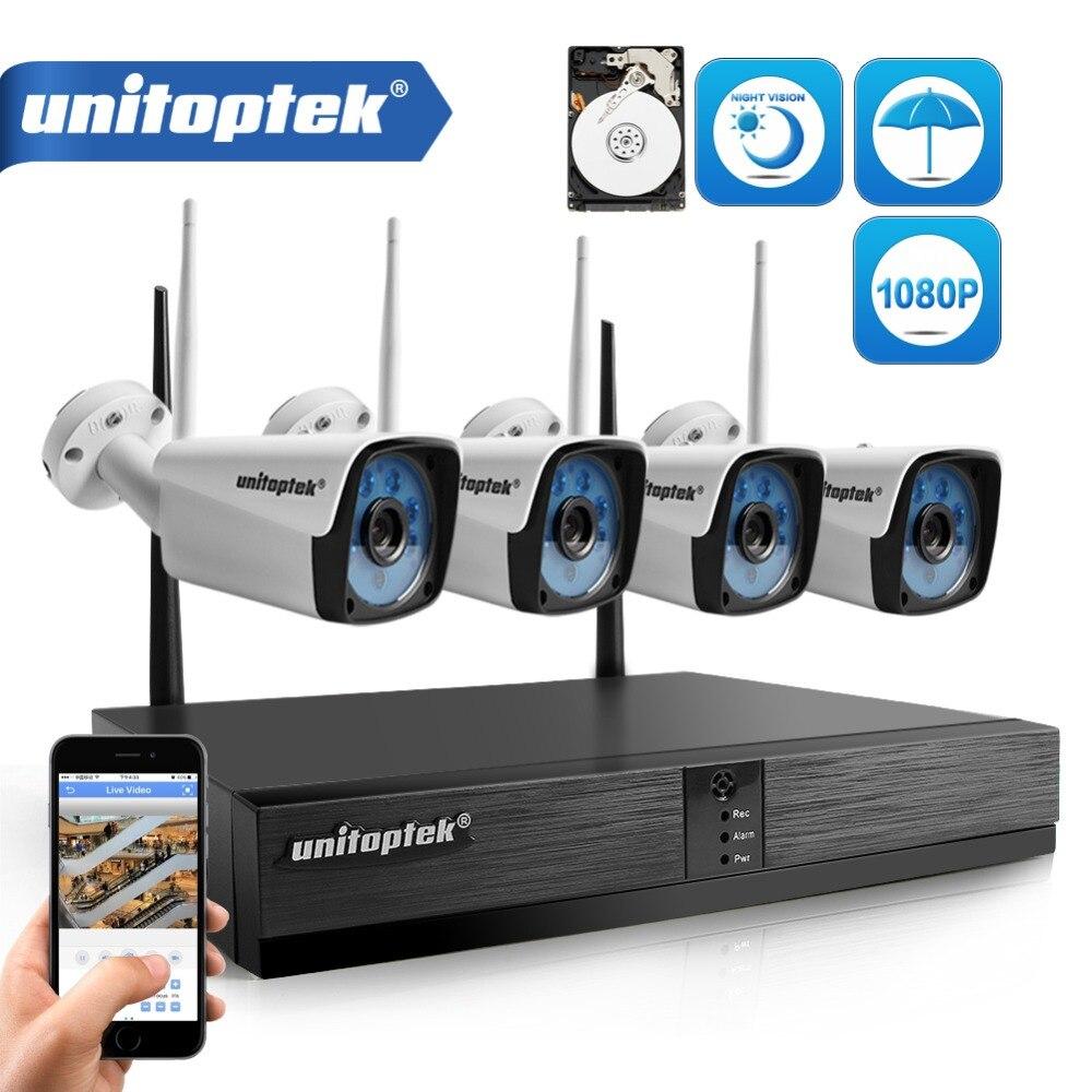 4CH 1080 P Sans Fil CCTV Système KIT H.265 4CH NVR IP IR-CUT Extérieure CCTV WIFI Caméra IP de Surveillance Vidéo de Sécurité kit P2P XMEYE
