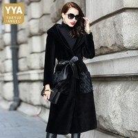 Женское пальто из натурального меха, элегантное пальто из меха норки с капюшоном, Женское пальто из органической кожи, теплая однобортная в