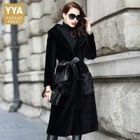 Natural Fur Shearling Overcoat Women Top Elegant Sashes Fur Hooded Mink Fur Coat Female OL Style Warm Single Breasted Outwear