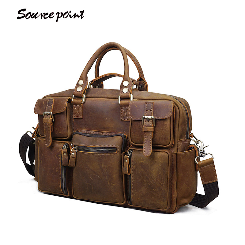 G-FAVOR Luxury 100% First layer Crazy Horse Leather Bag Men Handbag Shoulder Bag Natural Genuine Cow Leather Women Crossbody Bag
