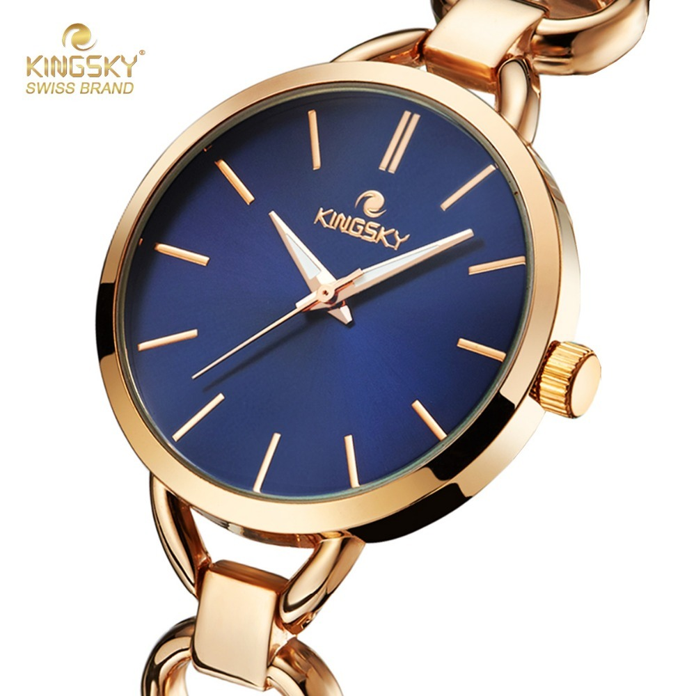 KINGSKY New Causal Black Dial Rose Alloy Band Women Quartz Watch Round Case Japan Movement Fashion Luxury 2693A-2# 2017 New цена