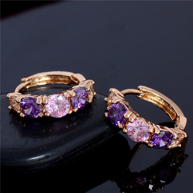 8d82afffa4 US $1.38 24% OFF|SHUANGR Fashion Charm Personality Alloy Gold Color Purple  Crystal Earring Jewelry Round Zirconia Design Earrings For Women-in Hoop ...