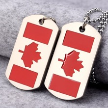 NEW Fashion alloy charms Canada Flag Military card Hip Hop Rock Pirates Jewelry Chains Pendants Steel Cool Dog Tag Necklaces(China)