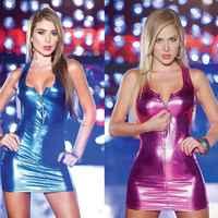 Encantadora Sexy cremallera chaleco charol Lencería imitar escenario mujer brillante abierto vestido con sujetador Pvc Catsuit Robe Club Erotique qz *