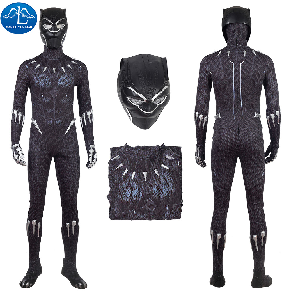 2018 Black Panther Cosplay Costume adult Carnival Halloween costume Superhero Black Panther jumpsuit black suit custom made