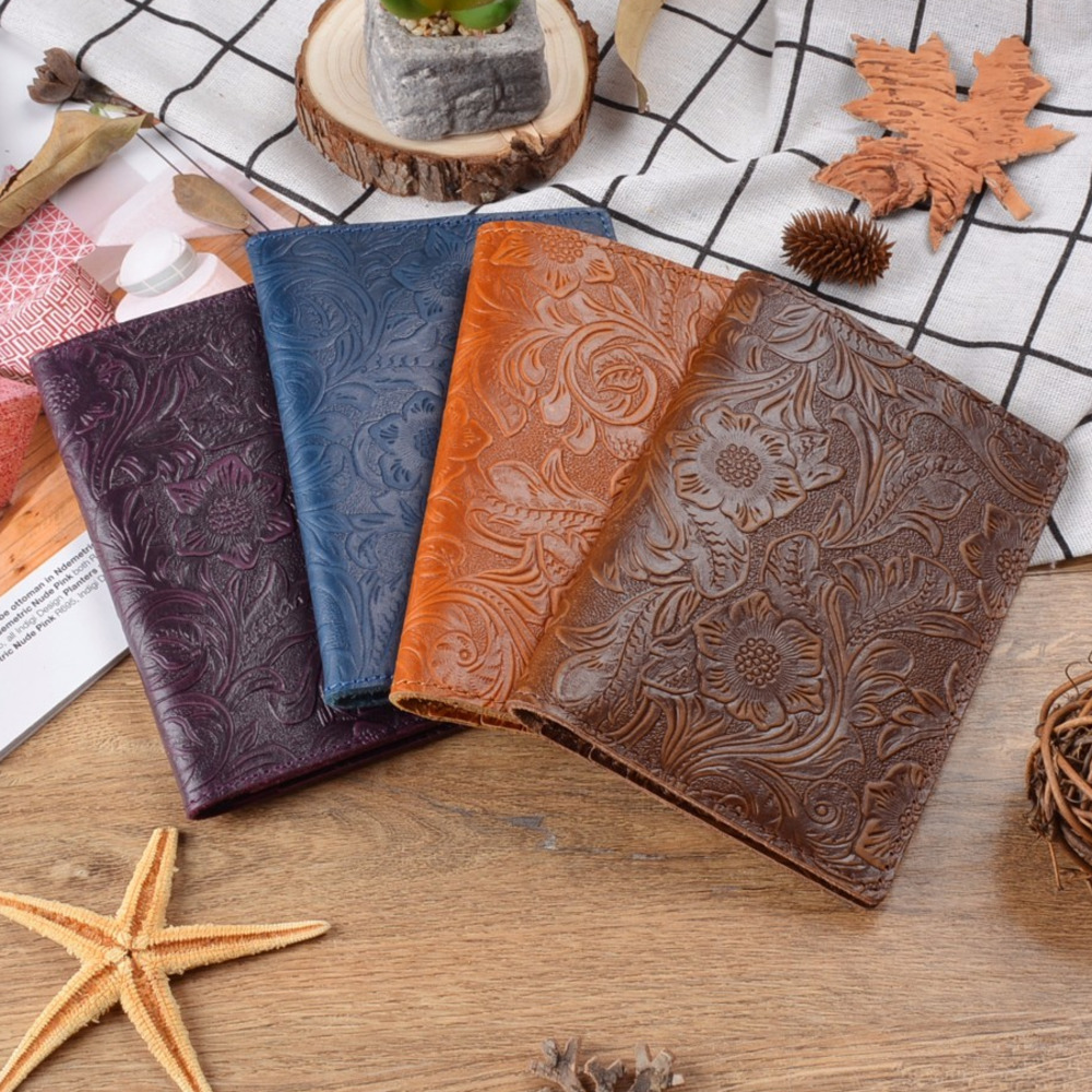 100% Genuine Cohide Leather <font><b>Passport</b></font> Cover Solid Credit ID Card Case Holder Embossed Flower Leather Travel Wallet image