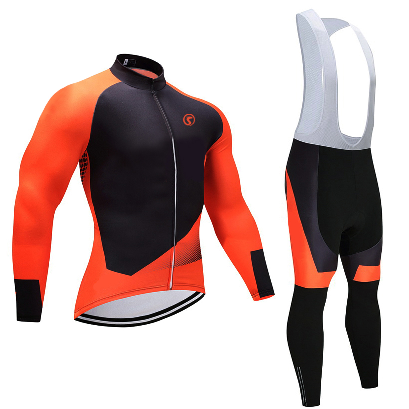 2018 invierno temporada pro bicicleta jersey 9D gel pad bicicleta pantalones conjunto naranja MTB Ropa Ciclismo térmico Flee pro Ciclismo Maillot desgaste