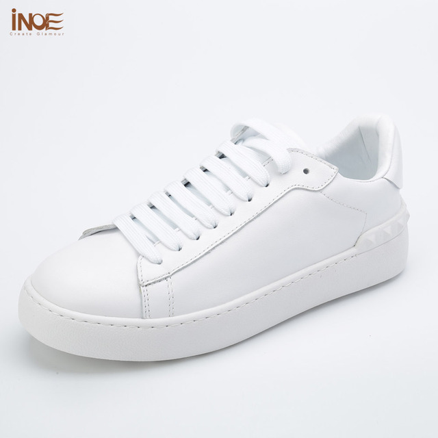 INOE 2017 fashion style women spring leisure shoes flats real genuine cow  leather lace up loafers casual shoes for women white 51a0091e33c2