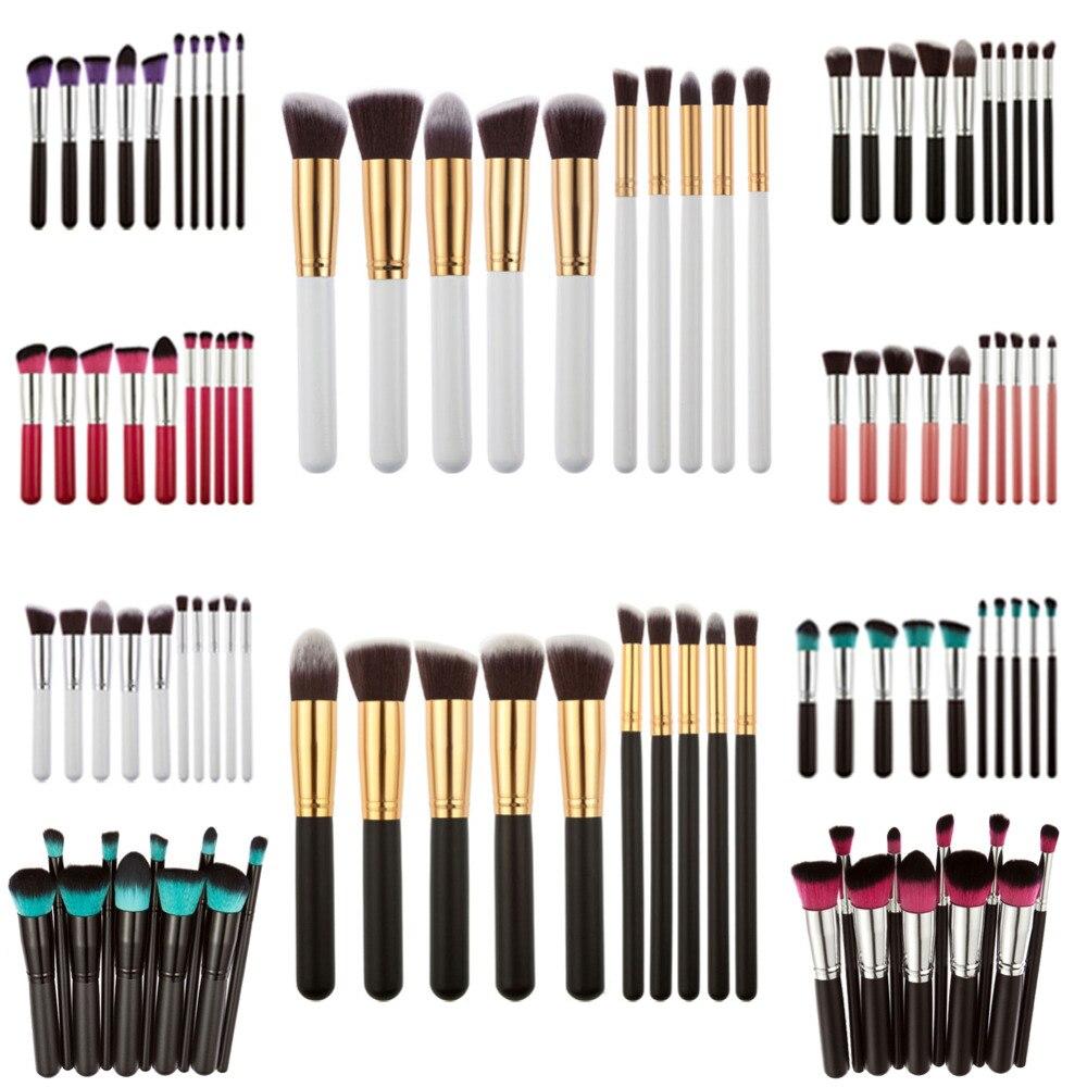 10 piezas maquillaje profesional de los cepillos conjunto Fundación polvo de sombra de ojos de labios cepillo cosmético maquillaje cepillos Kit de maquillaje