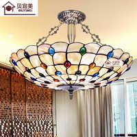 Techo europeo Tiffany Retro Concha Mar Mediterráneo Pastoral luces de techo Luminaria Teo lámparas de techo para la decoración del hogar
