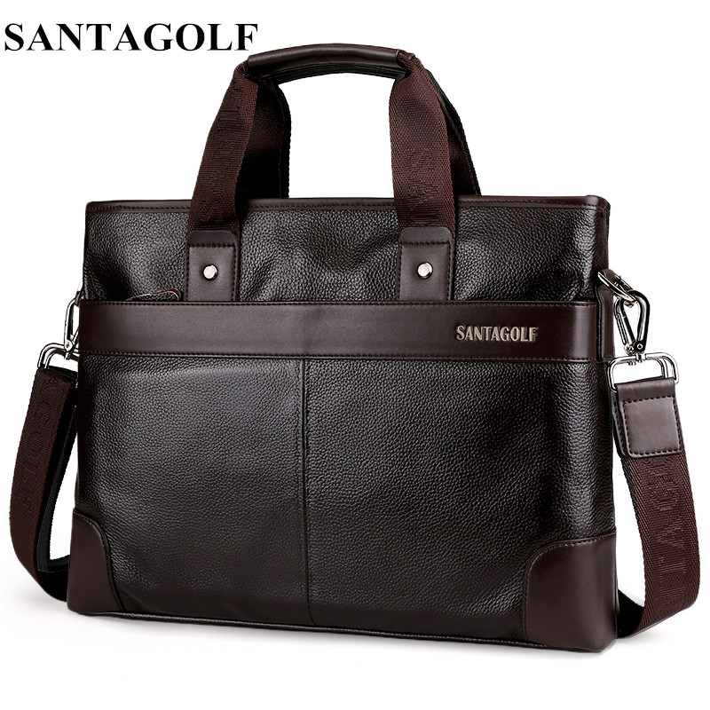 New brand design Genuine cow leather men's business bag briefcase/First layer of cowhide Shoulder messenger bags 14 laptop bags 2016 new fashion men s messenger bags 100% genuine leather shoulder bags famous brand first layer cowhide crossbody bags