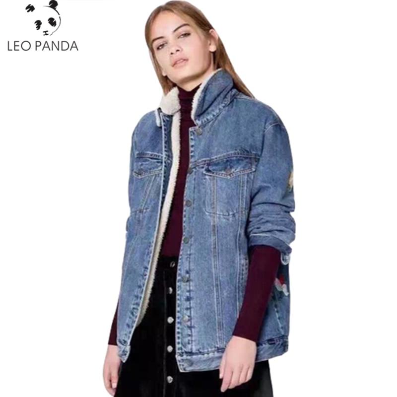 Printemps Blue En Automne Outwear Avec Large Manches Femmes Hiver Veste Denim Chaud D'agneau Mode Lcy59 2018 Laine Longues Manteau Nouvelle HxHrqwY1