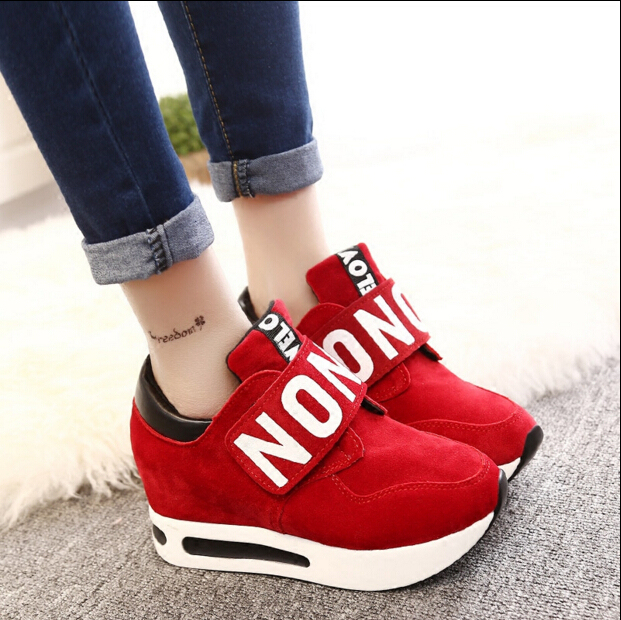 New 2017 spring Wedges High Heels thick soled Ladies Casual Single Shoes autumn Women MAGIC TAPE platform shoes chaussure femme