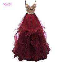 Цвет красного вина Многоуровневое тюлевые платья для выпускного вечера Длинные бальные платья кристаллы на шнуровке длинное строгое плать