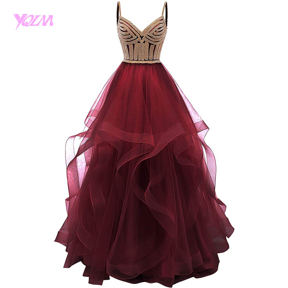 Wine Red Tiered Tulle Prom Dresses Ball Gowns Long Crystals Lace Up Long Formal Dress Straps