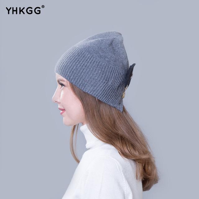 2016 mais recente moda senhora cashmere chapéu com arco bonito botões estilo casual chapéu gorros gorros