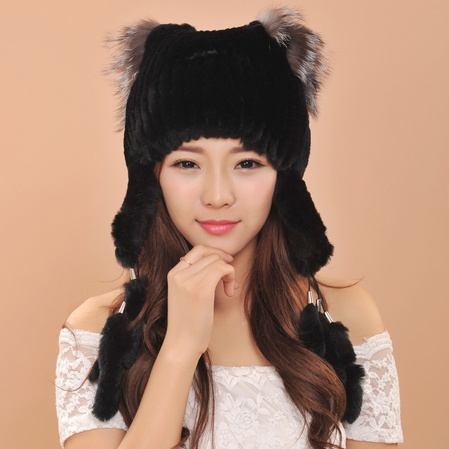 Hot Sale Elegant Women Knitted Hats Rex Rabbit Fur Cap Winter Warm Bomber Hats with fox fur ball