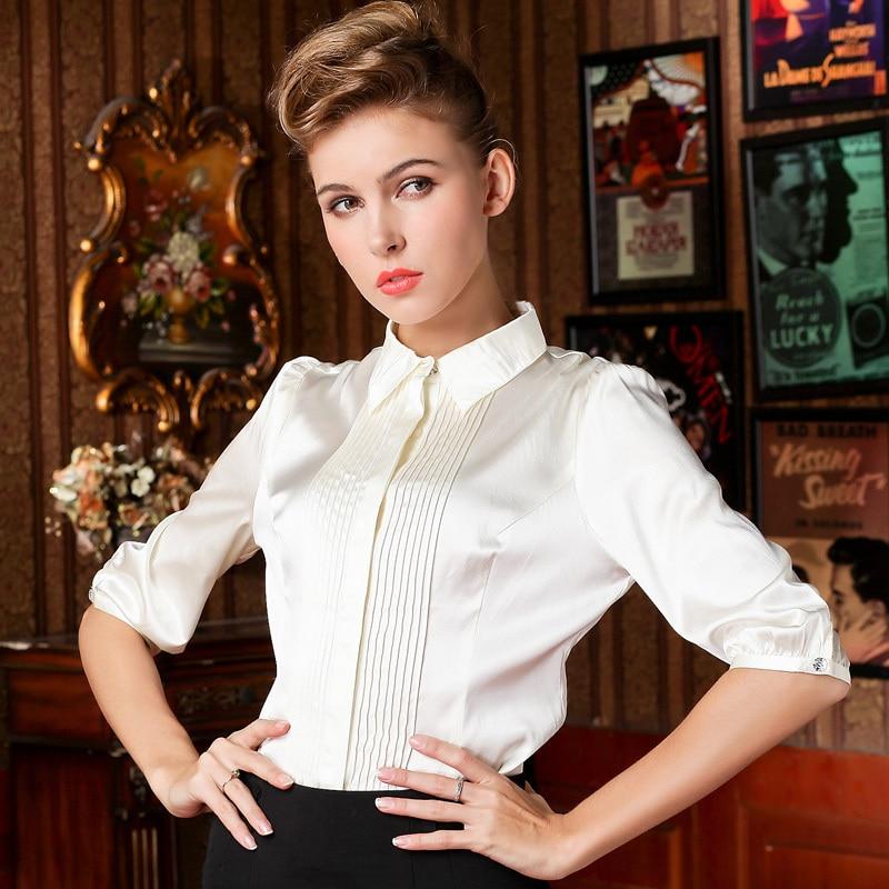 Brand Blusas Femininas Real Silk Shirt Sleeve White Shirt Workplace