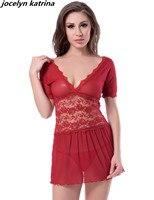 Jocelyn katrina marque D'été Nouveau Sexy Femmes lingerie à manches courtes col v érotique sexy de nuit rouge dentelle sheer femmes de nuit