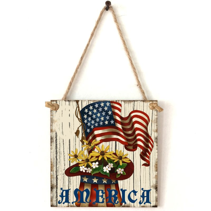 Vintage Wooden Hanging Plaque America Sign Board Wall Door Home Decoration Independence Day Party Gift-in Plaques & Signs from Home & Garden