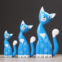 3pcs/set Family Love Wooden Cat Model Furnishing Articles Christmas Gift Home Decoration Carving Wood Cat Gift Painting Crafts
