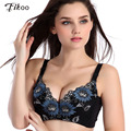 Fikoo Bras Sexy Women Sunflower Embroidery Water Push up Bra Deep V Plump Thin Lace Bras For Women Brassiere