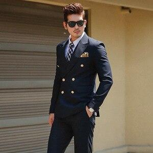 Image 2 - TPSAADE Mens Black Double Breasted Korean Slim Fit Suit Gentleman Suit Business Groom Wedding Dress (Top Jacket + Trousers)247