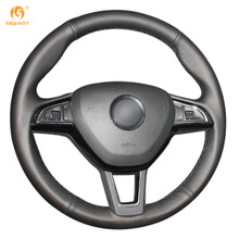 Black Artificial Leather Car Steering Wheel Cover for Skoda Octavia 2017 Fabia 2016 2017 Rapid Spaceback 2016 Superb (3-Spoke)