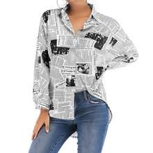 2019 Spring Women Letters Print Newspaper Shirts Streetwear Long Sleeve Plus Size Loose Ladies Tops White Blouse Blusas