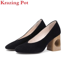 Krazing Pot Brand Shoes Women Fashion Hollow Thick Med Heel Genuine Leather Pumps Slip on Lady Shoes Square Toe Nude pumps L88