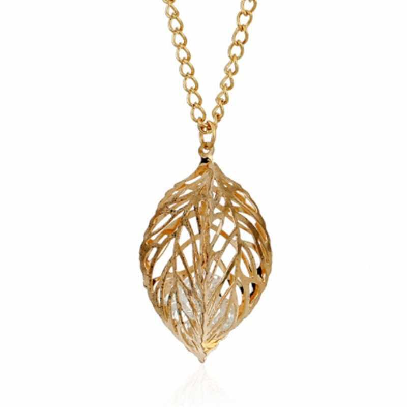 Hohl Blatt Schmuck Sets Einfache Kristall Tropfen Ohrringe Halskette Frauen Mode Hochzeit Schmuck Mode Bijoux Boho Pendientes