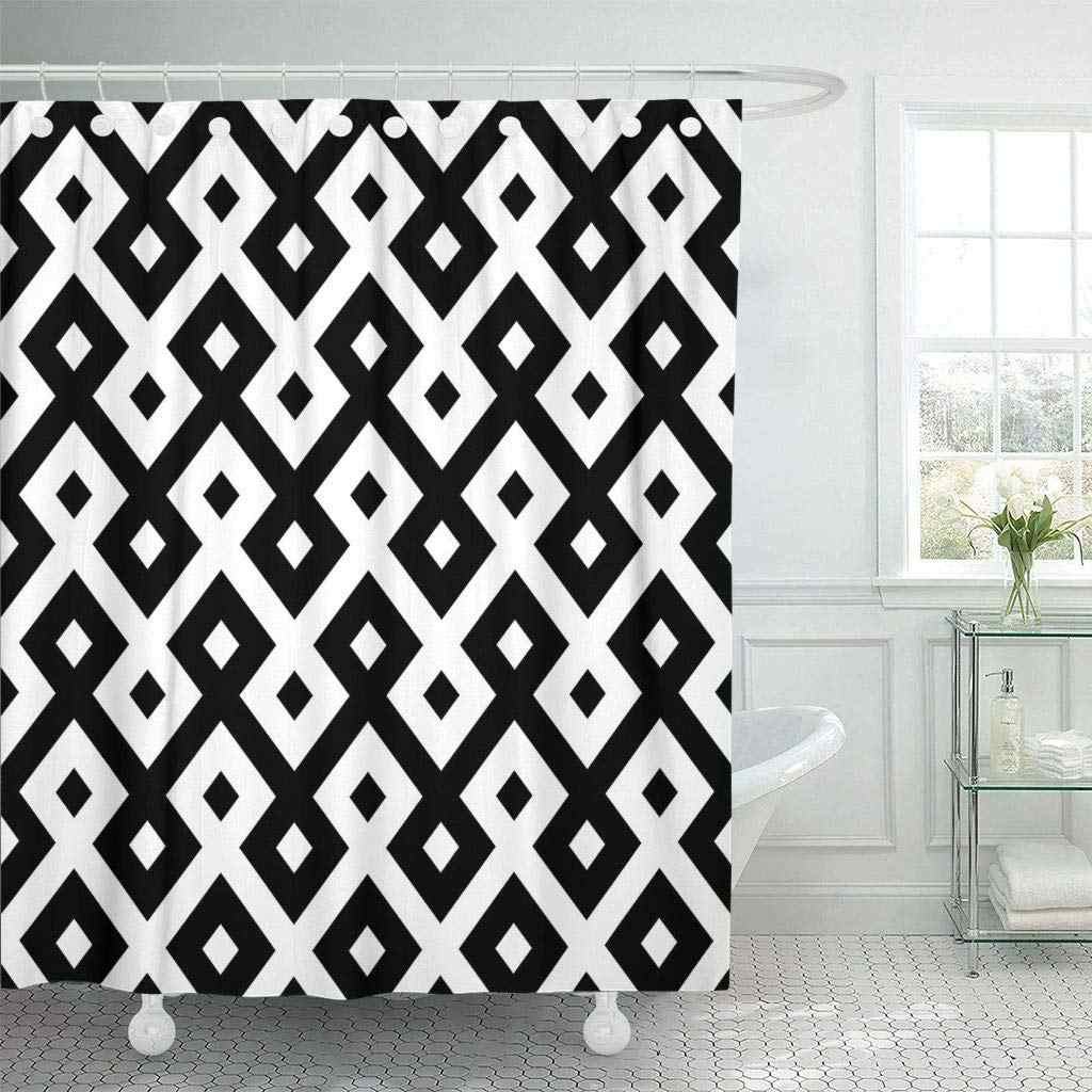 Fabric Shower Curtain With Hooks Modern Zigzag Pattern Ethnic Motifs Oriental Tiling Ornaments Traditional Arabesque