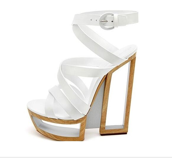 Fashion geometric thick square heel back strap ankle strap fretwork cut out in summer big size 35-42 fashion geometric cut out high thin heel fretwork back strap lace up peep toe sandals for woman in summer big size 35 41