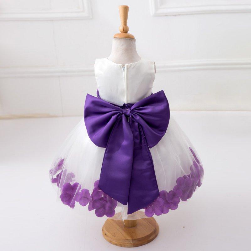Baby Girls Dress Rose Petal Hem Cute Princess Tutu Sleeveless Dress Girls Clothing Wedding Party Vestidos