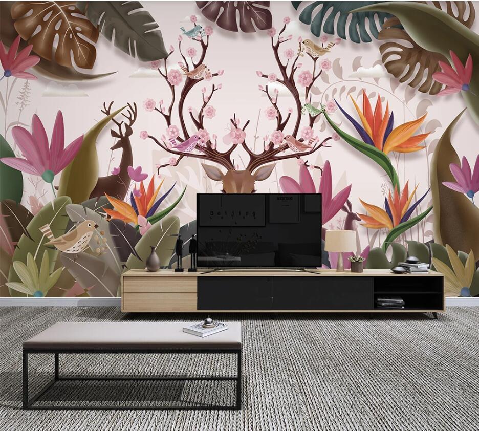 Private custom wallpaper wall hand-painted Nordic tropical plants elk banana leaf TV bedroom living room background wallpaper...