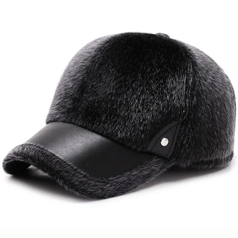 HT2074 Men Winter   Baseball     Cap   Thick Warm Faux Mink Fur   Baseball   Hat Male Leather Brim Adjustable Snapback Dad Hats with Earflap