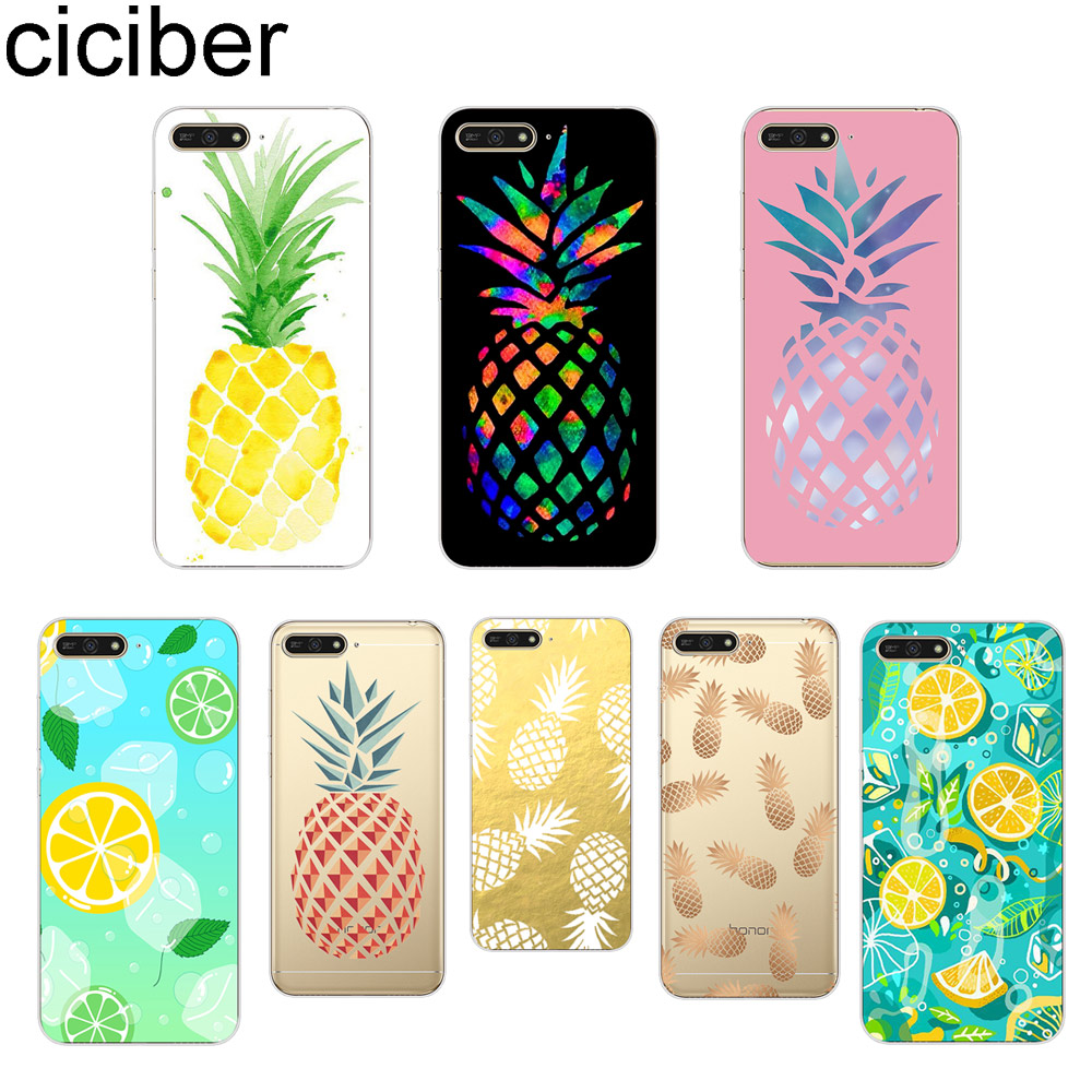 ciciber <font><b>Summer</b></font> Cartoon Fruit Pineapple Lemon Phone <font><b>Case</b></font> for <font><b>Huawei</b></font> <font><b>Y6</b></font> Y9 Y7 Y5 Y3 Prime Pro <font><b>2018</b></font> 2017 2019 Soft TPU Back Cover image