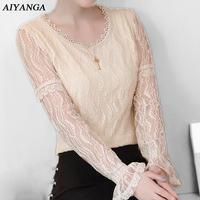 New Long Sleeve Lace Top For Women 2018 Spring Fashion Hollow Out O Neck Pullovers White